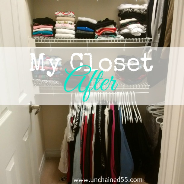 My closet after decluttering