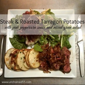 Steak and tarragon potatoes with pink peppercorn sauce and mixed greensalad